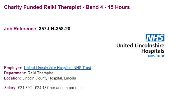 Charity Funded Reiki Therapist job reference - Band 4 - 15 Hours - note that the words charity funded have been added and the words spiritual healer have been removed from the first iteration of the job listing
