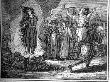 a woodcut illustrating an execution by burning at the stake from a mid 19th Century book