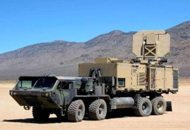 An operational version of the Active Denial System is shown. It is an invisible, counter personnel, directed-energy weapon.  https://commons.wikimedia.org/wiki/File:An_operational_version_of_the_Active_Denial_System.jpg