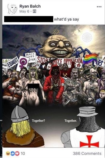 """A Christian knight templar and a norse viking stand together in front of an caricaturishly ugly horde. The horde includes a naked woman with a blasphemous message daubed on her body; a naked man with """"woman"""" daubed on his body; an obese man eating fast food; two gay punks in fetish gear; a heavily tattoed Hispanic man holding a knife and gun; a hooded black man; and a bearded communist adorned with a hammer and sickle. The crowd are holding signs saying """"Equality"""", """"Black lives matter"""", """"Stop white oppression"""", an anarchist symbol, a rainbow gay rights flag, and """"My Body, My Rules"""". Behind the crowd is a giant looming spider wearing a Star of David. The Viking and the Knight Templar agree to fight together"""