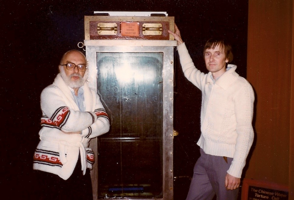 James Randi and Mike Hutchinson at the Houdini Museum in Niagara Falls, taken in 1983 by Australian skeptic Dick Smith.
