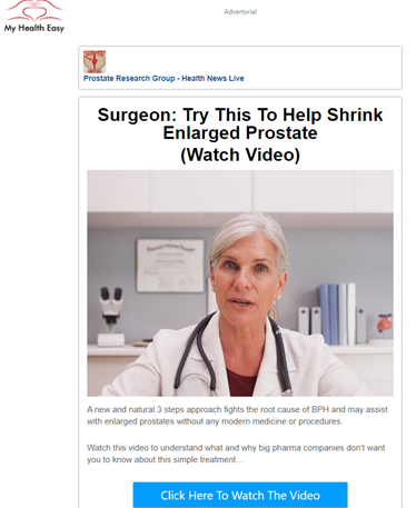 "Article on ""My Health Easy"" headed ""Try This To Help Shrink Enlarged Prostate (Watch Video)"" with a stock image of a white-haired white woman wearing a lab coat and stethoscope."