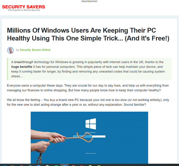 "An article listed as an ""Advertisement"" on the website ""Security Savers"" with the headline ""Millions of Windows Users Are Keeping Their PC Healthy Using This One Simple Trick... (And It's Free!)"""