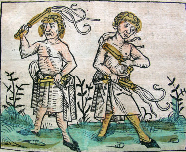 A wood cutting of flagellants from the Nuremberg chronicles 1440 - 1514.