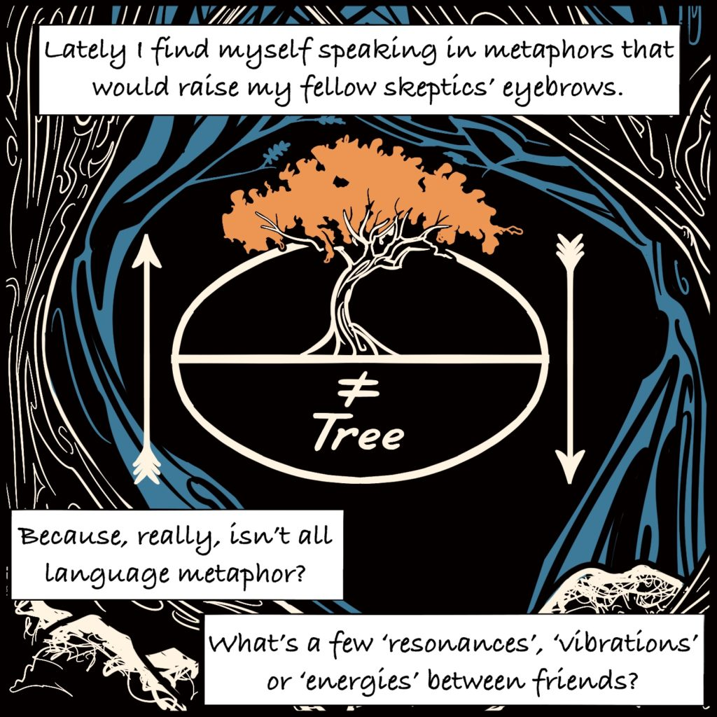 """Panel 8. Two trees arch around the spiralling water. In the centre there is a circle with a line through the middle above the line is a drawing of a tree, below is a not equal sign with the word tree. Either side are arrows, one pointing up, one pointing down. The text explains """"Lately I find myself speaking in metaphors that would raise my fellow skeptics' eyebrows. Because, really, isn't all language metaphor"""" """"what's a few 'resonances', 'vibrations' or 'energies' between friends?"""""""
