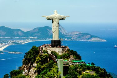 Christ the Redeemer statue in Brazil overlooking the sea.