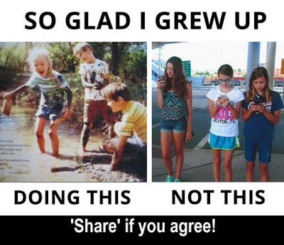 """Meme headed """"So glad I grew up"""" Image one: children playing in a stream and underneath written """"doing this"""", image two: children looking a their phones written underneath """"not this"""". Underneath """"Share if you agree!""""."""