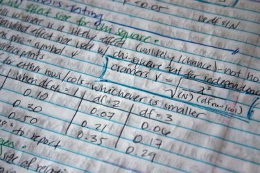 Written notes on the chi square statistical test