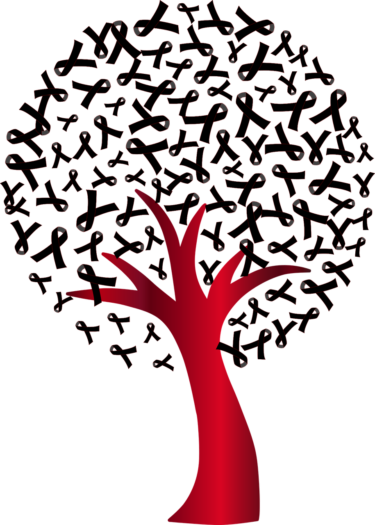 HIV awareness tree - the trunk is red like a ribbon and the leaves are ribbon shapes, in black.