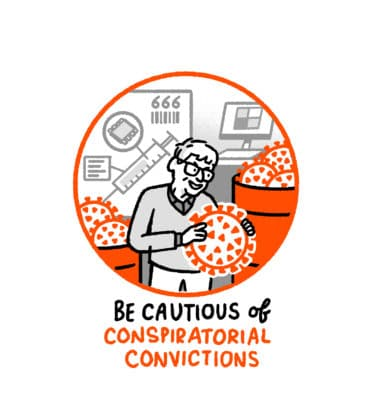 """A drawing of Bill Gates with two vats of corona virus - the text reads """"Be cautious of conspiratorial convictions"""""""