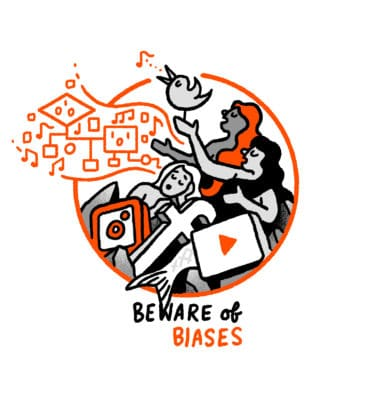 """""""Beware of biases"""" - mermaids on a rock sing in algorithms while holding on to social media icons."""