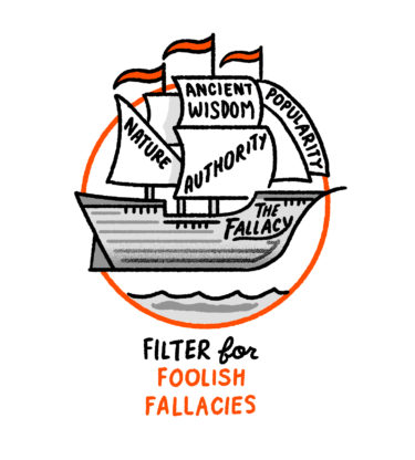 """""""Filter for foolish fallacies"""" - a ship floating above water with sales labelled """"nature, ancient wisdom, popularity and authority"""" the ship is called The Fallacy."""