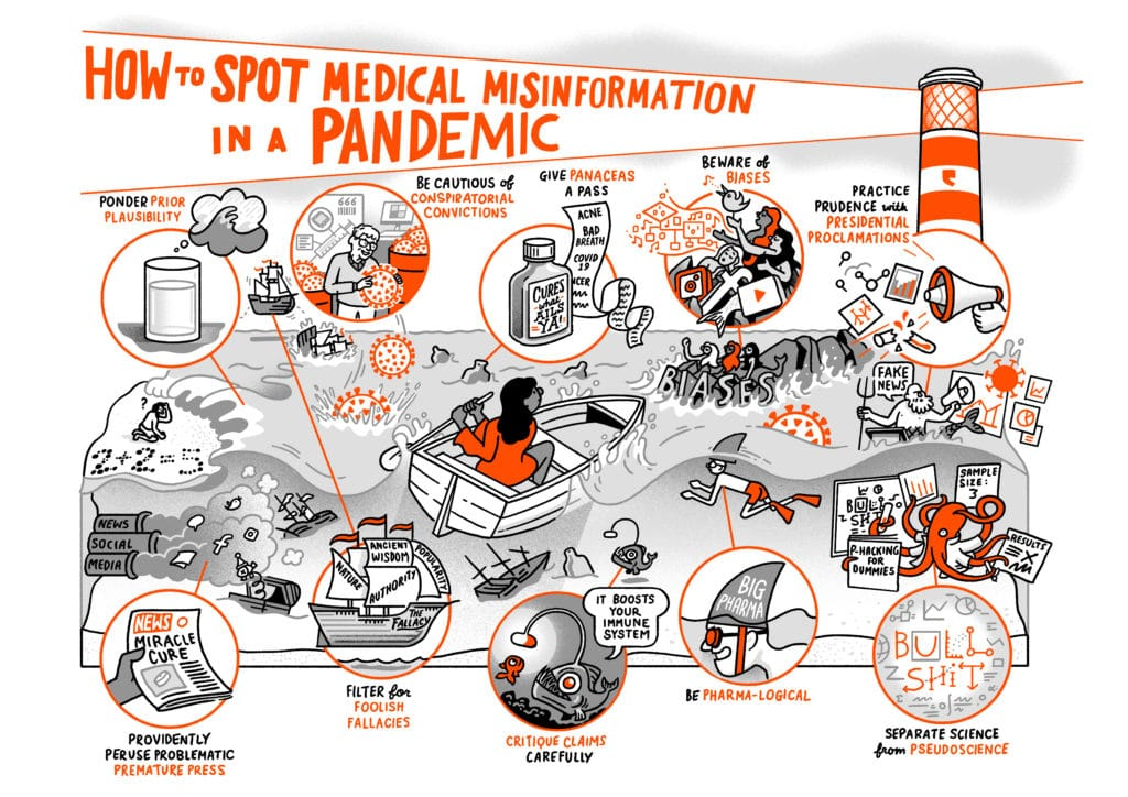 """All the drawings from the piece above are collected together under the heading """"How to spot medical misinformation in a pandemic"""". Each image is part of a large seascape with a person rowing a small boat heading towards the lighthouse which lights up the heading."""
