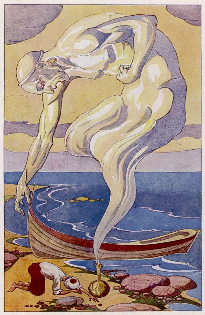 'Fisherman and Djinn', Illustration by A Stieren in 'Tausend und eine Nacht'