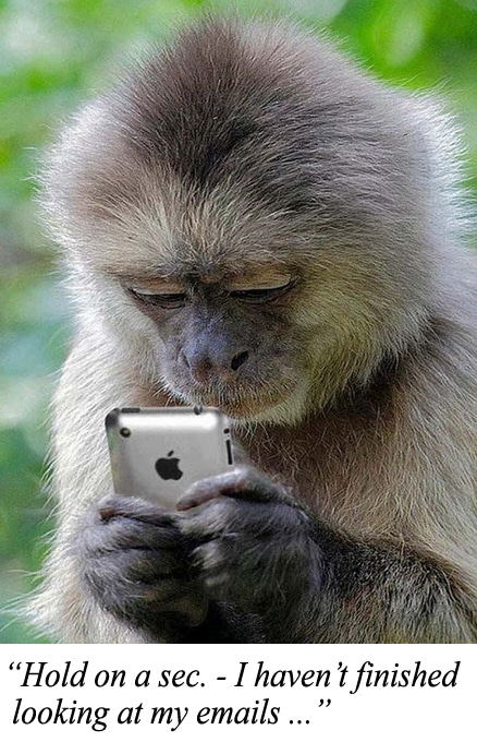 """A monkey holding an iphone with the caption """"Hold on a sec. - I haven't finished looking at my emails ..."""""""