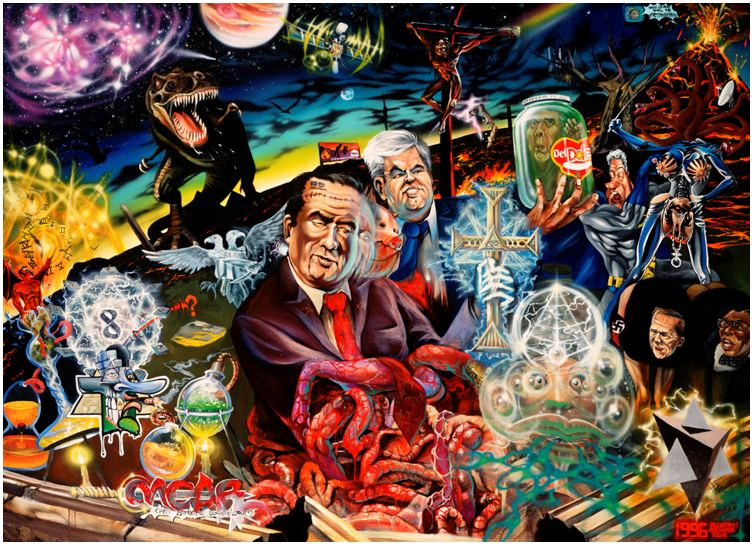 The image is a psychedelic mix of American political references and subversive iconography. In the middle of the image, we have what looks like a mix of Richard Nixon, Ronald Regan, and a pig. His right arm submerged up to the elbows in the entrails of multi-eyed alien with an Eye of Providence on its forehead. His left hand holds up a large glowing cross. Behind him is New Gingrich holding up what I think is Bob Dole in a Dole pickle jar. Behind Newt is Bill Clinton in a batman costume and Hillary Clinton with her head replaced with a hydra and her genitals exposed and heavily pierced. Behind them is an exploding volcano and beneath them is a small swastika and two faces I don't recognise. There's a multifaceted pyramid object in the bottom right corner and a chemistry set in the bottom left corner along with the number eight, a devil, a clock. In the top right there is a T-Rex. In the center of the image is a dark-skinned Jesus on a cross and behind him is a satellite floating through an Afrofuturist style sky