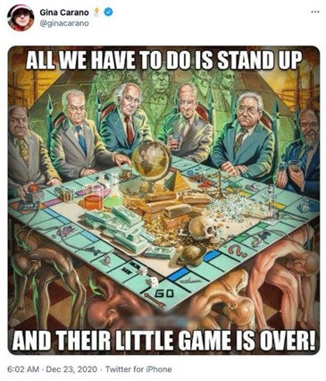 A group of white or Jewish men who are meant to appear as bankers sit at a Monopoly board that is resting on the backs of four diversely colored muscular men who are kneeling with their heads bowed. On the Monopoly board is a pile of symbols for wealth and power, ranging from golden pyramids to a button with a radiation symbol on it connected to a nuclear rocket. One particularly Jewish looking banker is holding a large diamond. Behind the men are the ghostly spirits of other generic bankers, and behind them is a large pyramid flanked by factories