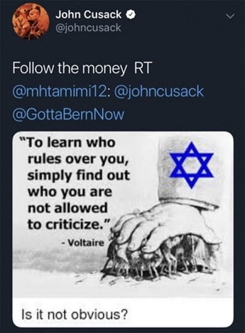 """A large hand with a Star of David pictured on the forearm is pressing down on a group of people. Next to it is the quote """"To learn who rules over you, simply find out who you are not allowed to criticize"""". As is common, the quote is falsely attributed to Voltaire, while the actual source is believed to be the neo-Nazi Kevin Strom. Beneath the image is the question """"Is it not obvious?"""""""