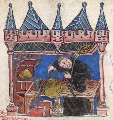 A medieval scholar making measurements