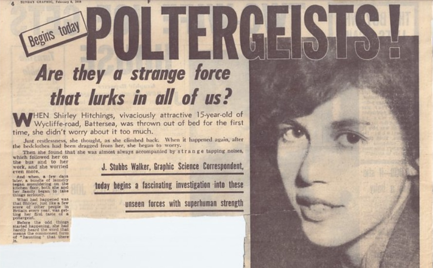 """An old newspaper article about the Battersea Poltergeist case listing Shirley Hitchings as a """"vivaciously attractive 15-year-old of Wycliffe-road, Battersea""""."""