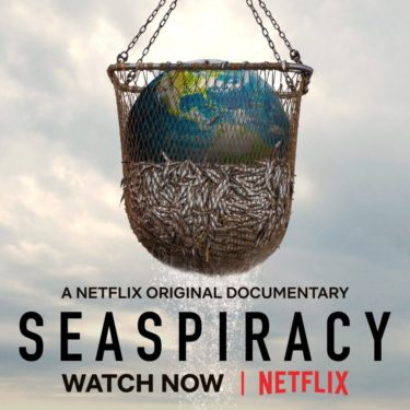"""Seaspiracy promo image. A large fishing net half filled with fish and with the planet earth on top of the fish. Below reads """"A Netflix original documentary Seaspiracy watch now on Netflix"""""""