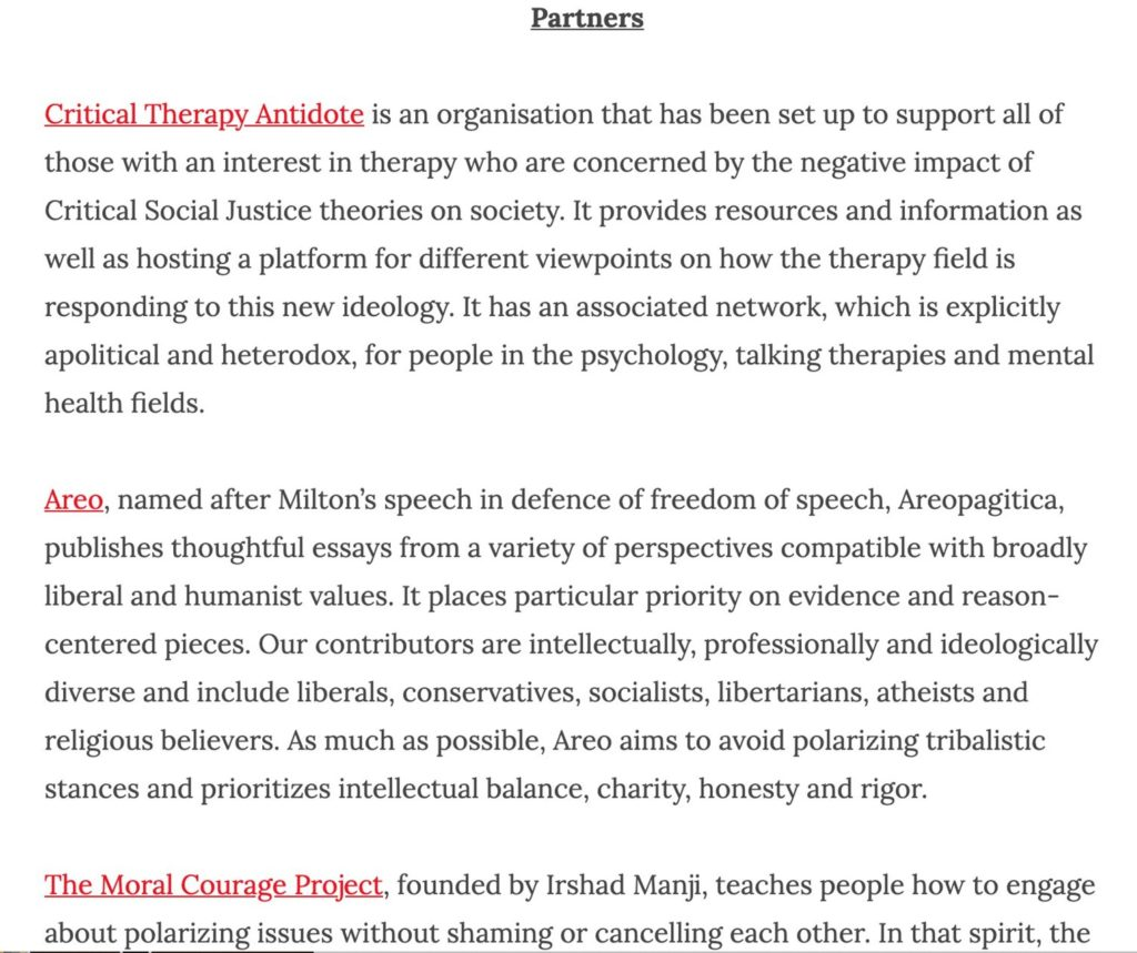 Counterweights page listing partner organisations, which lists Aero, Critical Therapy Antidote, and The Moral Courage Project, but has no reference to James Lindsay's New Discourses website.