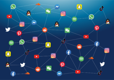 Social media apps connecting to one another in a large network.