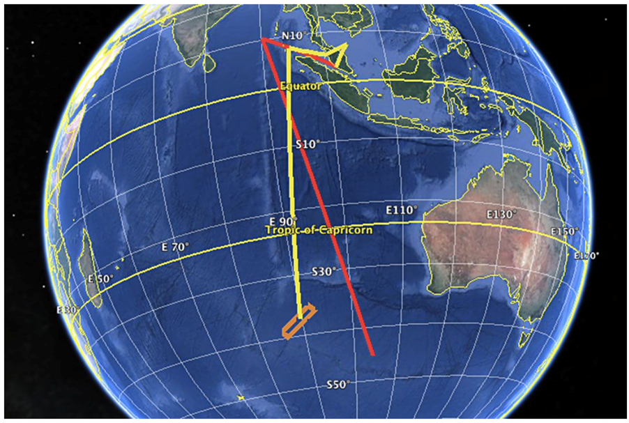 Presumed MH370 flight path, with Inmarsat satellite data combined with known radar transmissions - the simulated flight path as described in the text is in red, the presumed flight path taken from satellite data in yellow. The two are similar in direction but with clear differences - there is virtually no direct overlap between the two.