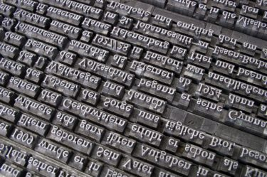 Book printing letters organised into words