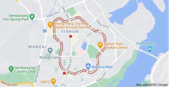 Google map screen shot of Yishun