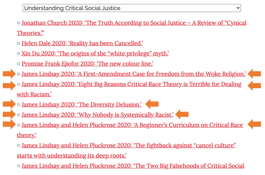 """A list of linked resources on Counterweight's """"understanding critical social justice"""" page, as linked to in the preceding paragraph. Of the links, five are highlighted - these are links to content on New Discourses, written by James Lindsay."""