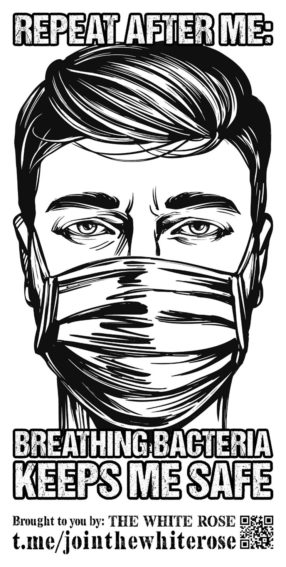"""Black and white line drawing of a man with a quiff wearing a face mask. """"Repeat after me: Breathing bacteria keeps me safe"""" - white text with a black outline on a white background"""