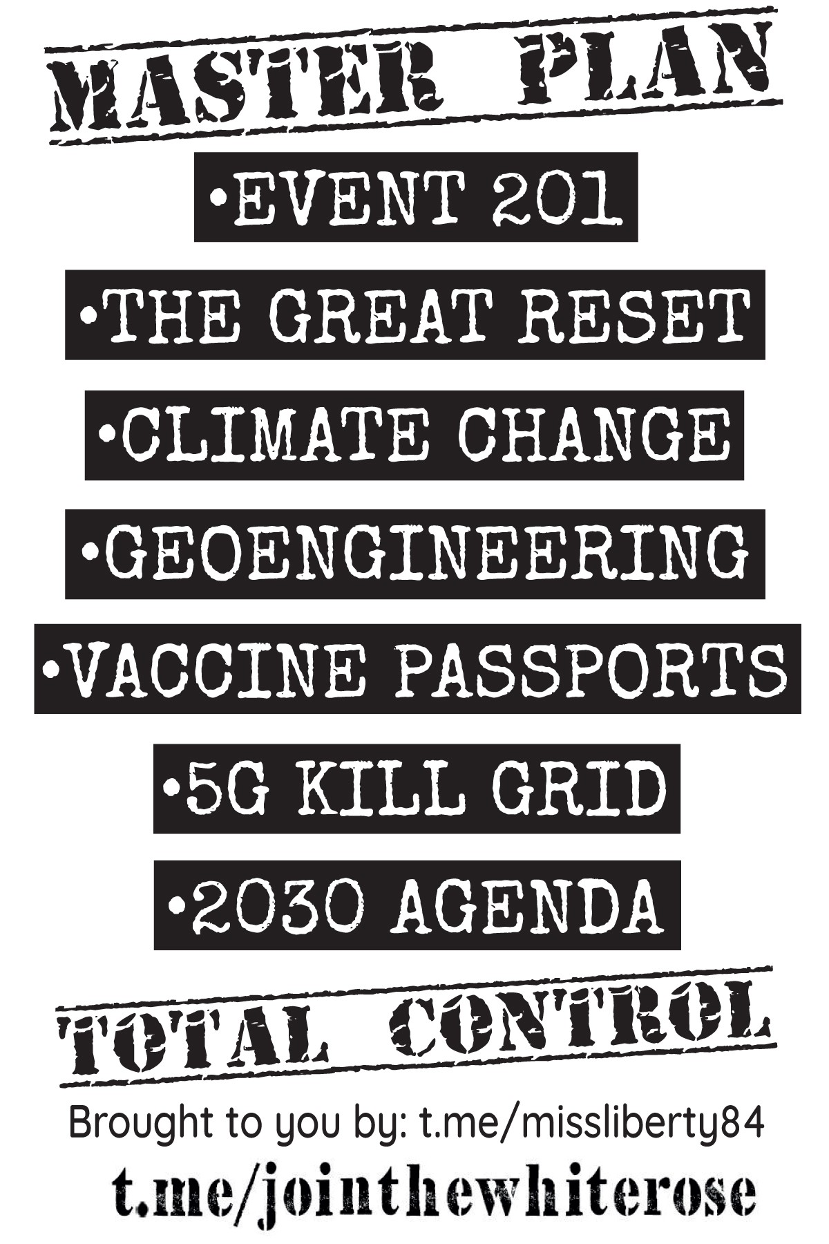 """""""Master plan: - Event 201 - The great reset - Climate change - Geoengineering - Vaccine passports - 5G kill grid - 2030 Agenda - Total control"""""""