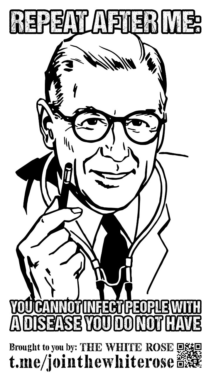 """Line drawing of a doctor: """"Repeat after me: you cannot infect people with a disease you do not have"""""""