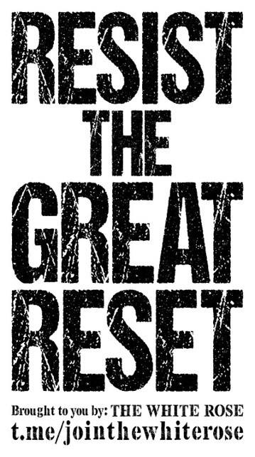 """""""Resist the great reset"""" - black text on a white background"""