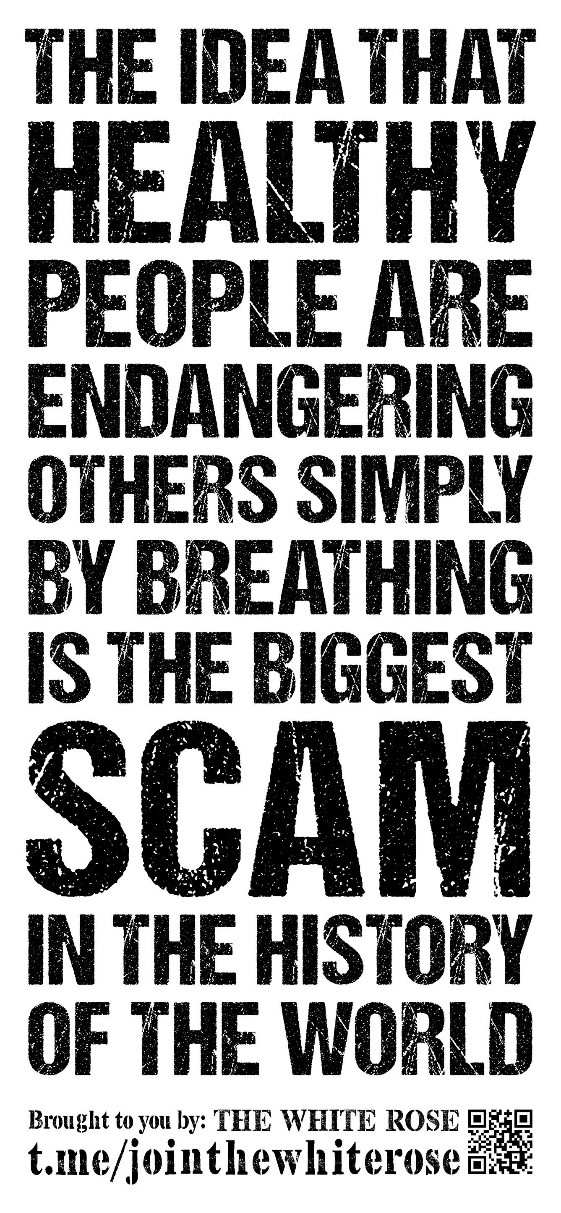 """""""The idea that healthy people are endangering others simply by breathing is the biggest scam in the history of the world"""" - black text on a white background"""