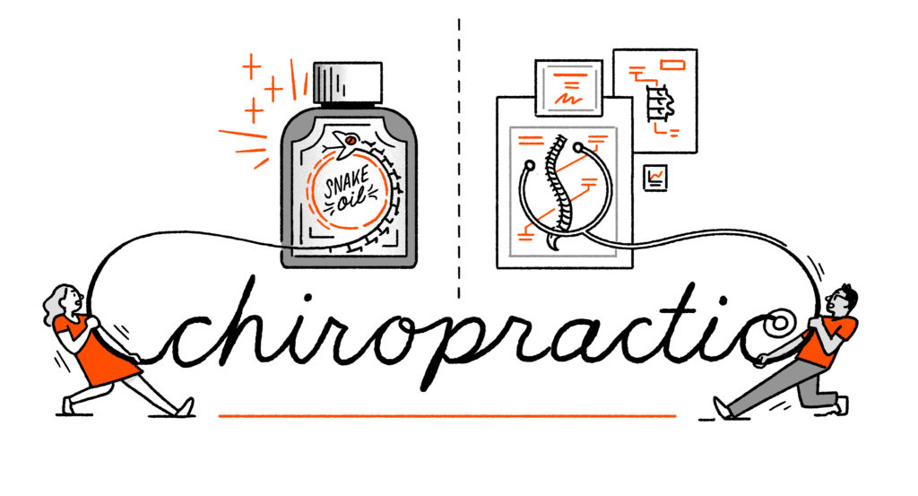 """Two characters tug at the word """"chiropractic"""" - one is directing the tail of the """"rope"""" she tugs at towards a bottle of snake oil, the other towards a depiction of a spine. The latter character's piece of rope is now shaped like a stethoscope."""