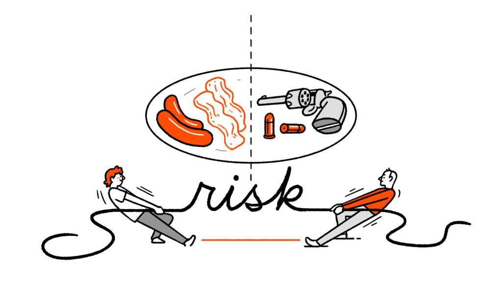 """Two characters tug at a piece of rope shaped like the word """"risk"""" - above one is a plate of sausages and bacon, above another a revolver with two bullets beside it."""
