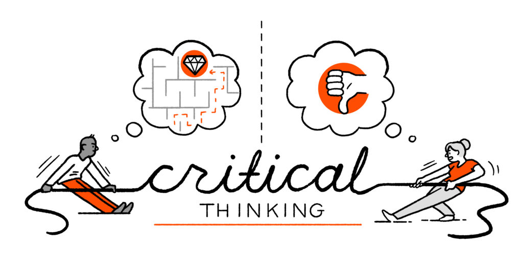 """Two characters tug at a piece of rope shaped like the words """"critical thinking"""". Above one, the thought bubble depicts a pathway through a maze, above the other the thought bubble depicts a thumbs down."""