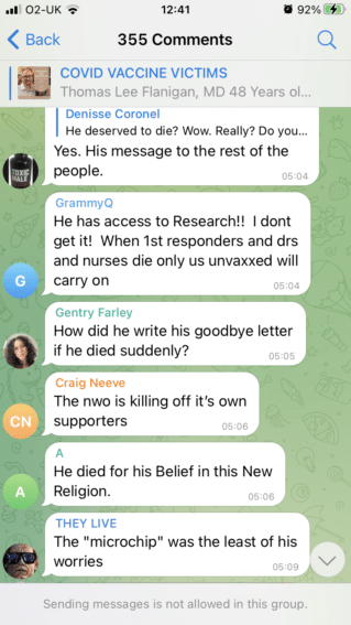 """A screenshot of the telegram group which discusses Thomas's death - the messages are quoted in the main text of this article. The bottom of the screen shot reads """"sending messages is not allowed in this group"""""""