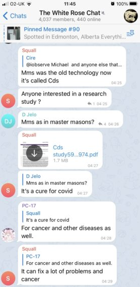 """Messages in The White Rose Chat about MMS:  1. """"Mms was the hold technology now it's called Cds"""" 2. """"Anyone interested in a research study ?"""" 3. """"Mms as in master masons?"""" 4. PDF file 5. """"It's a cure for covid"""" 6. """"For cancer and other diseases as well."""" 7. """"It can fix a lot of problems and cancer"""""""