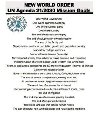 """The meme is headed """"NEW WORLD ORDER UN Agenda 21/2030 Mission Goals""""  Beneath the heading is the UN logo and a list which includes things like """"One World Government"""", """"One World Military"""", """"The end of ALL privately owned property"""" """"Mandatory multiple vaccines"""" """"Universal basic income (austerity)"""", """"Government raised children"""", """"The end of single family homes"""""""