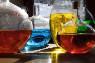 Coloured liquids in laboratory glassware