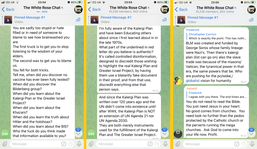 """Three posts in """"The White Rose Chat"""" (10,238 members, 842 online).   The first reads: """"You are sadly too stupid or hate filled or in need of someone to blame to see how brainwashed you are. The first truck is to get you to stop listening to the wisdom of your elders. The second was to get you to blame us. You fell for both tricks. Tell me, when did you discover no vaccine has ever been fully tested? When did you discover the Bilderberg group? When did you learn about the Kalergi Plan or the Greater Israel Project? When did you learn about the Khazars? When did you learn the truth about Hitler and the holohoax? When did you learn about the BIS? Who the fuck do you think made that information available to you?""""  The second reads: """"I'm fully aware of the Kalergi Plan and have been Educating others about since I first learned about it in the late 1970s. What part of the underlined in red letter do you believe is authentic? It's called controlled disinformation, designed to discredit those wishing to highlight the real Kalergi Plan and Greater Israel Project, by having them use a blatantly fake document in their proof, and from that use, discredit everything else that person says. And since the Kalergi Plan was written over 120 years ago and the UN didn't come into existence until after WWII, the Kalergi Plan is NOT an extension of UN Agenda 21 nor UN Agenda 2030. They are both merely instruments used for the fulfillment of the Kalergi Plan and the Greater Israel Project.""""  And the third reads: """"BLM was created and funded by George Soros whose family lineage were Nazi's. Then there's kalergi plan (list can go on) also the slave trade was because of the masons/Vatican, the tyrannical power in that era, the same powers that be. Who are pushing the pc/woke/globalist vision for humanity."""""""