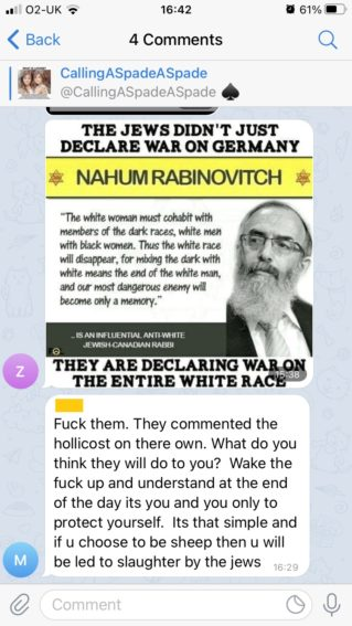 """A message in """"CallingASpadeASpade"""".   The message shows a meme image featuring an elderly Jewish man. The text reads: """"The Jews didn't just declare war on Germany.  Nahum Rabinovitch. """"The white woman must cohabit with members of the dark races, white men with black women. Thus the white race will disappear, for mixing the dark with white means the end of the white man, and our most dangerous enemy will become only a memory"""" - is an influential anti-white Jewish Canadian Rabbi  They are declaring war on the entire white race""""  A response reads: """"Fuck them. They committed the holocaust on their own. What do you think they will do to you? Wake the fuck up and understand at the end of the day its you and you only to protect yourself. Its that simple and if you choose to be sheep then you will be led to slaughter by the Jews"""".   of two blonde haired, blue eyed girls. The image is captioned. """"What is Loxism? Loxism is the Jew's hatred not merely of Gentiles but specifically of White People. Loxism is the most powerful form of racial hatred on the planet, and yet is it never mentioned by the mainstream news media."""""""