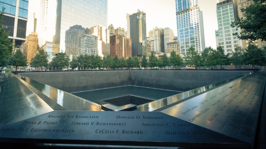 The 9/11 memorial in New York, taken by Petr Kratochvil and released under Public Domain license.