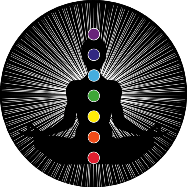A diagram of chakra;s running through a silhouette of a body.