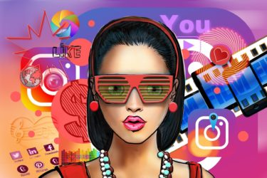 Influencer - a cartoon drawing of a white woman wearing red sunglasses, a red dress and red earrings and hairband holding back her dark hair. In the background are social media icons and emoki.